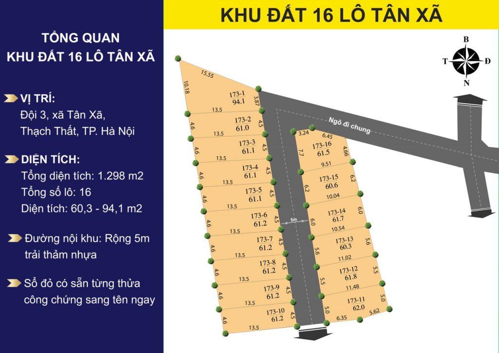 16 Lô đất Tân Xã, sát khu CNC Hòa Lạc Full Thổ Cư Sẵn Sổ