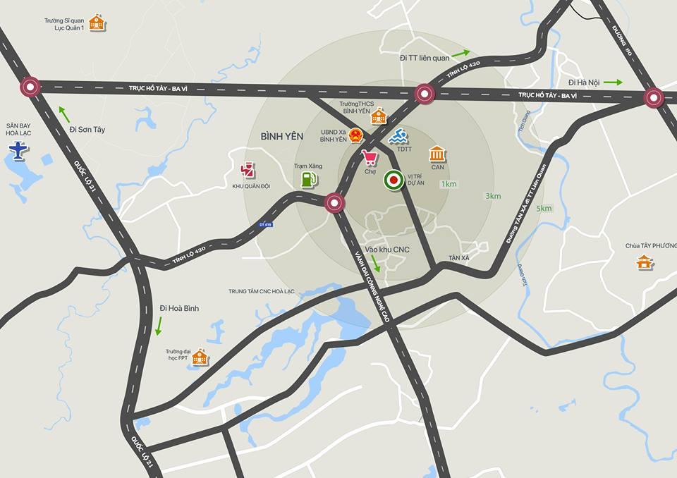 Bản đồ các khu dân cư quanh xã Bình Yên