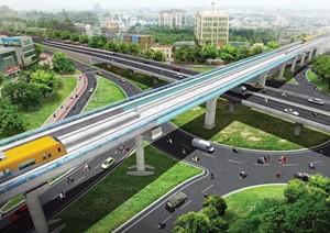 Phối cảnh một đoạn đường thuộc dự án đường sắt đô thị số 5, tuyến Văn Cao-Ngọc Khánh-Láng-Hòa Lạc