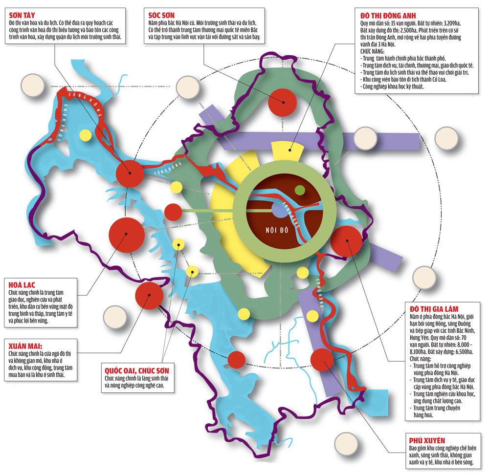 Bản đồ quy hoạch các khu đô thị vệ tinh và đô thị tại Hà Nội