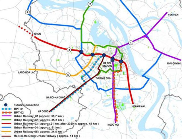 Bản đồ quy hoạch đường sắt đô thị Hà Nội