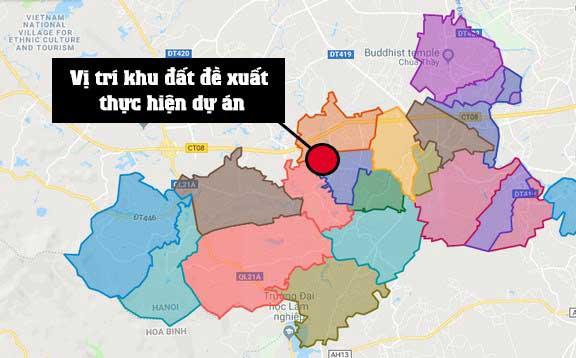 Vị trí khu đất Vingroup Đề xuất xây khu đô thị 860ha ở huyện Quốc Oai - Hà Nội