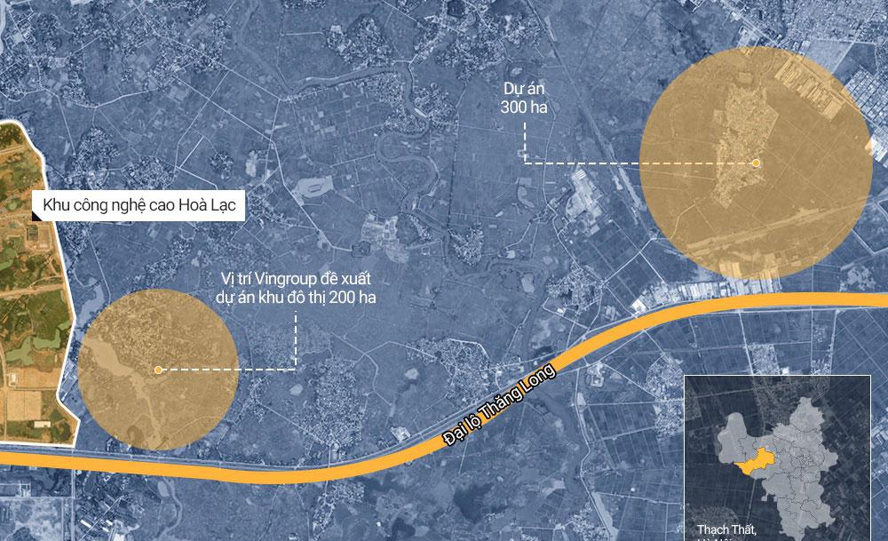 Vị trí Vingroup đề xuất xây 2 khu đô thị 500ha ở Hòa Lạc